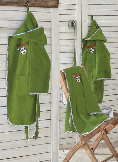 Ecocotton Çocuk Bornoz Funny Football  Yeşil